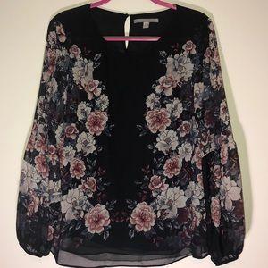 Valerie Stevens Floral long sleeve top size L
